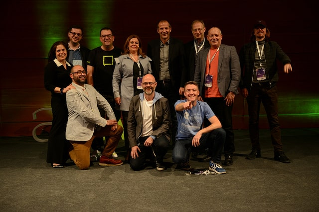 All 11 speakers at AllWeb 2018 on a group photo.