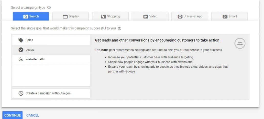 The interface of Google Ads, on a lead generation campaign creation.