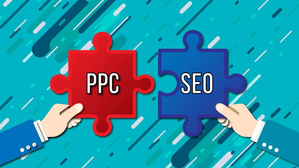 PPC and SEO as two matching pieces of a puzzle, with two hands matching them together