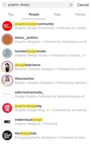 "Some of the results when searching ""graphic design"" on Instagram"