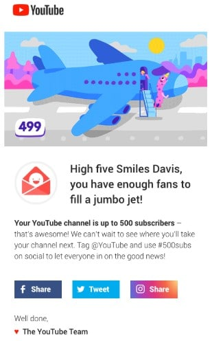 Example of a Youtube Newsletter