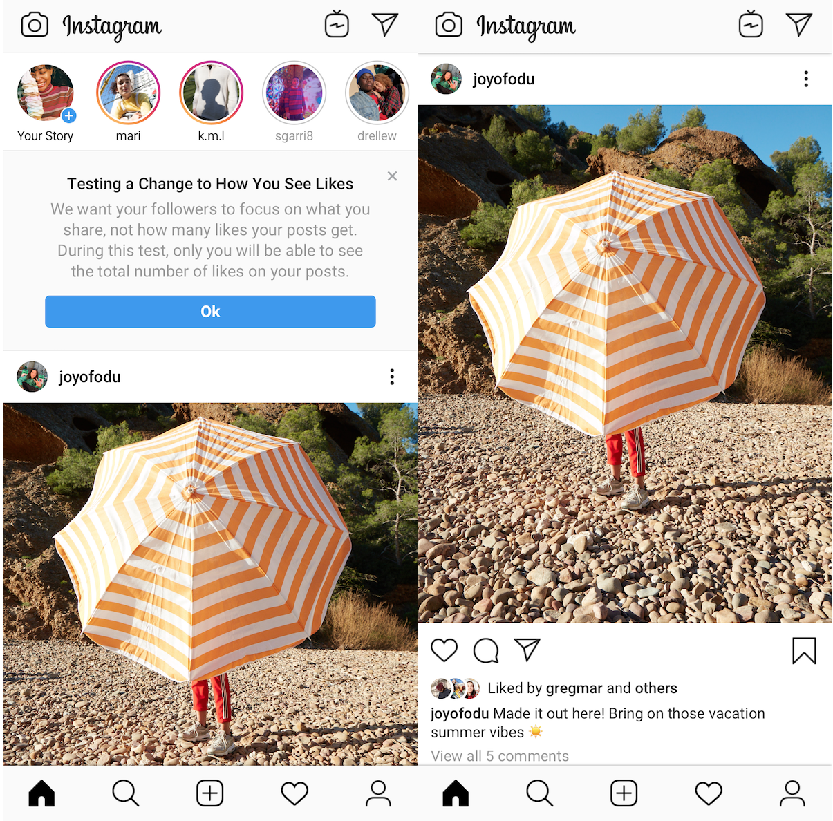 Instagram hiding likes_how it looks