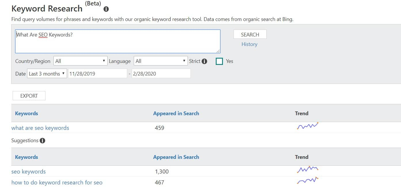 Bing Webmaster Console's Keyword Research Tool.
