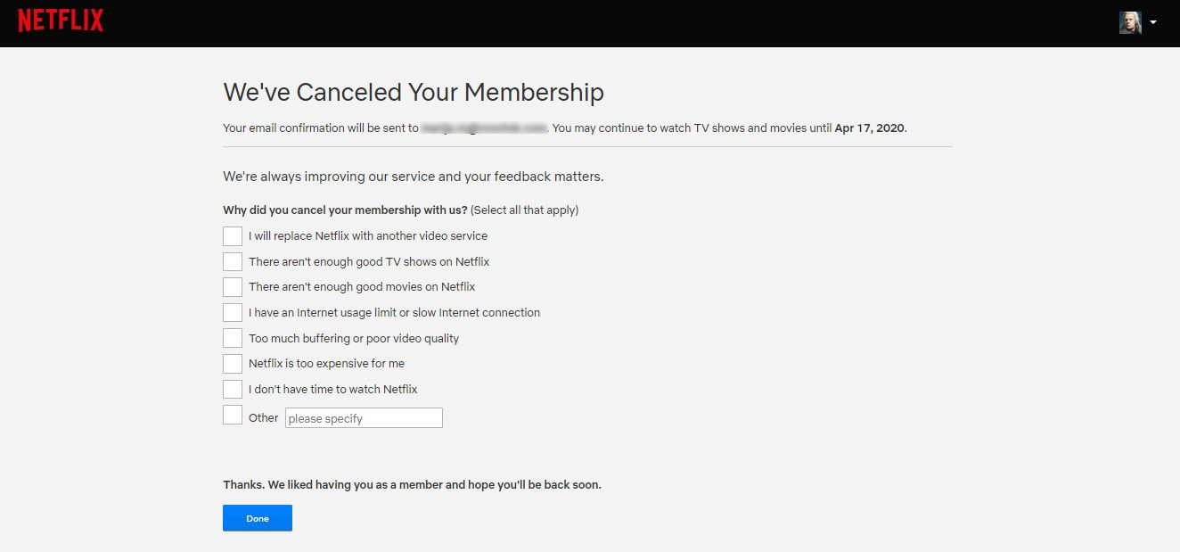 Screenshot from the Feedback that Netflix is asking for, after you've canceled your membership.