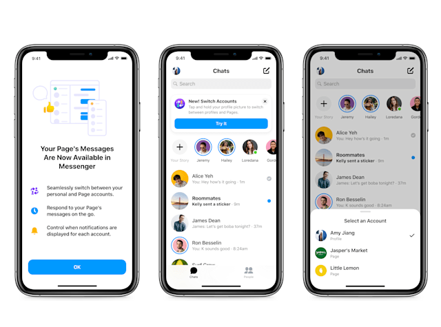 Mobile view showing the new Messenger Updates