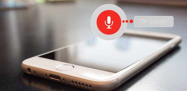A phone with the Ok Google voice search function at display.