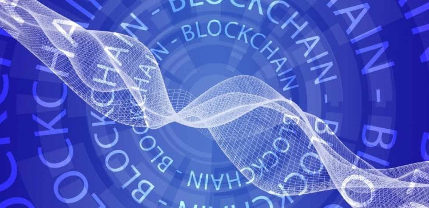 The blockchain text in an abstract circular pattern.