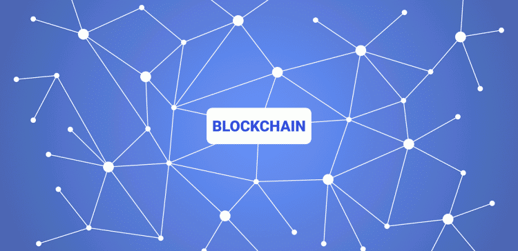 A mindmap with multiple dots, having the word blockchain in the middle.